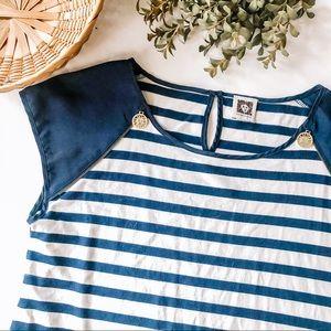 Anne Klein | Nautical Striped Cap Sleeve Blouse